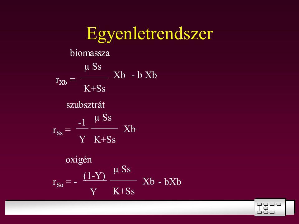 Egyenletrendszer µ Ss K+Ss Xb r Ss = biomassza szubsztrát r Xb = - b Xb Y µ Ss K+Ss Xb oxigén r So = - (1-Y) Y µ Ss K+Ss Xb - bXb
