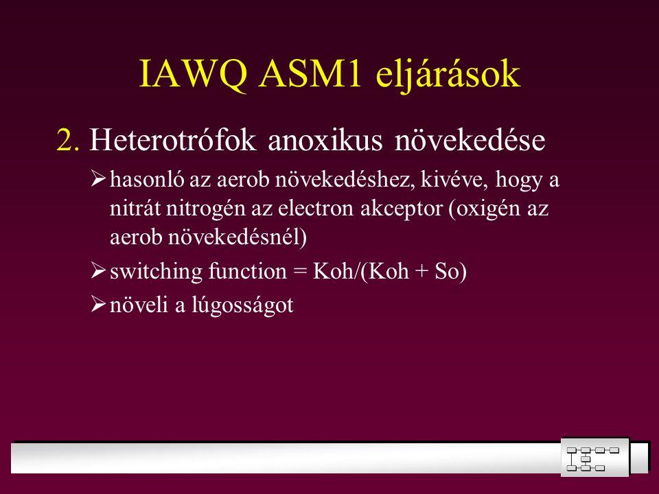 IAWQ ASM1 eljárások 2. Heterotrófok anoxikus növekedése  hasonló az aerob növekedéshez, kivéve, hogy a nitrát nitrogén az electron akceptor (oxigén a