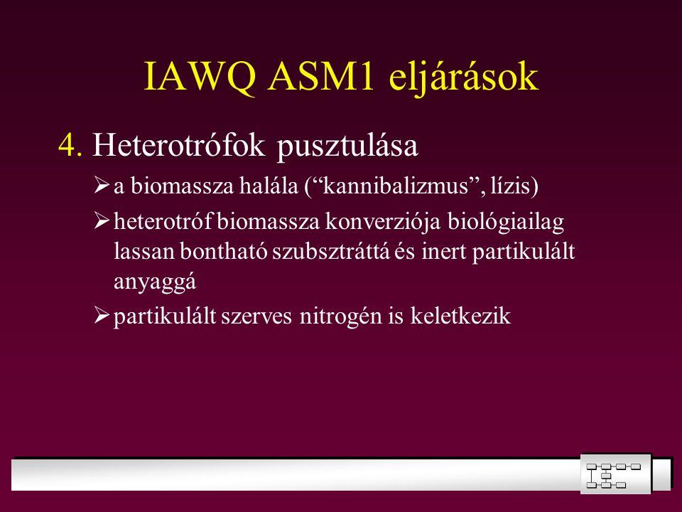 """IAWQ ASM1 eljárások 4. Heterotrófok pusztulása  a biomassza halála (""""kannibalizmus"""", lízis)  heterotróf biomassza konverziója biológiailag lassan bo"""