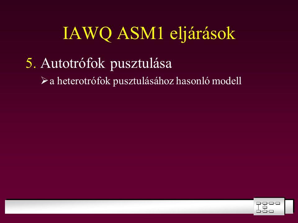 IAWQ ASM1 eljárások 5. Autotrófok pusztulása  a heterotrófok pusztulásához hasonló modell