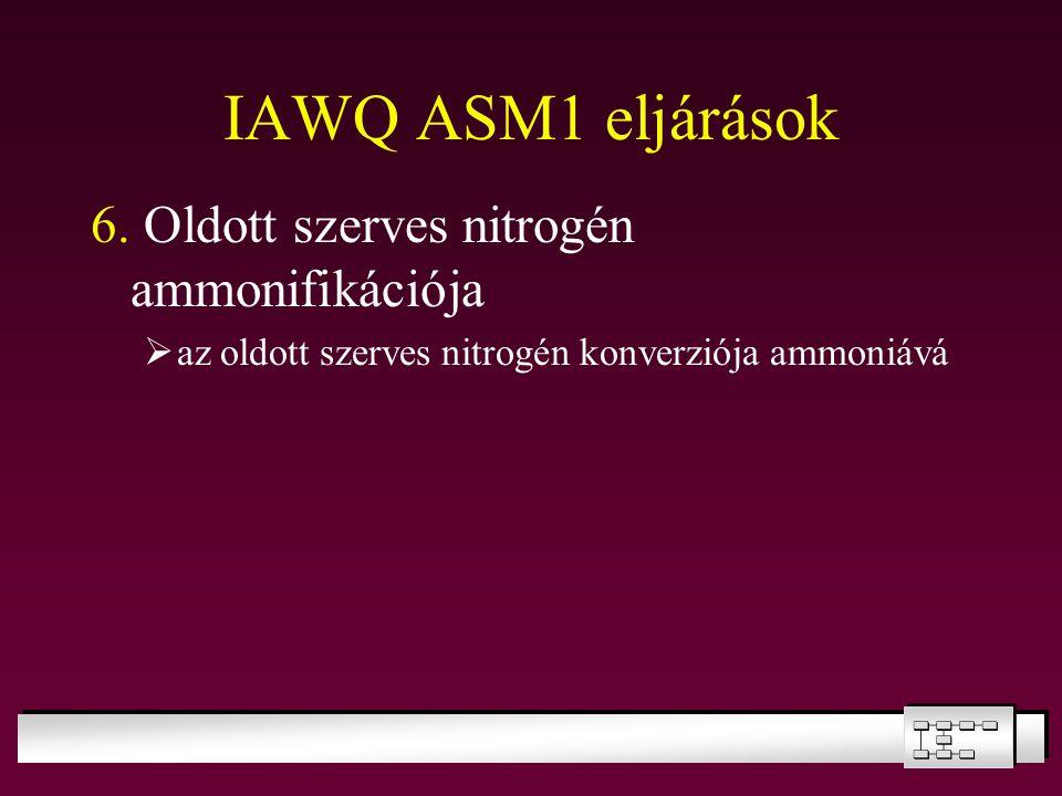 IAWQ ASM1 eljárások 6. Oldott szerves nitrogén ammonifikációja  az oldott szerves nitrogén konverziója ammoniává
