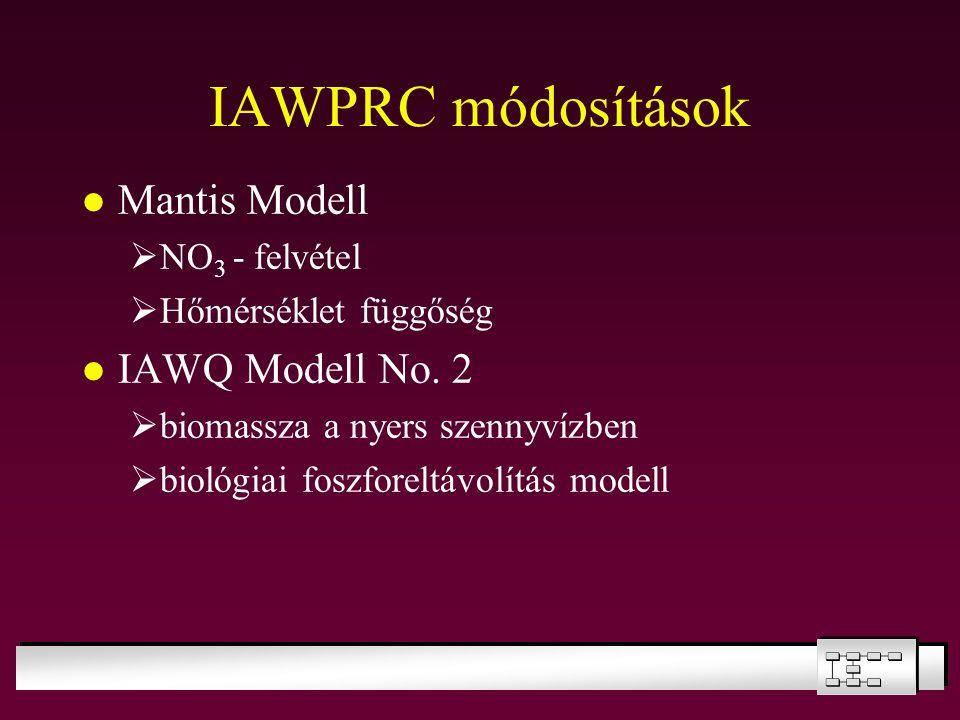 IAWPRC módosítások Mantis Modell  NO 3 - felvétel  Hőmérséklet függőség IAWQ Modell No. 2  biomassza a nyers szennyvízben  biológiai foszforeltávo