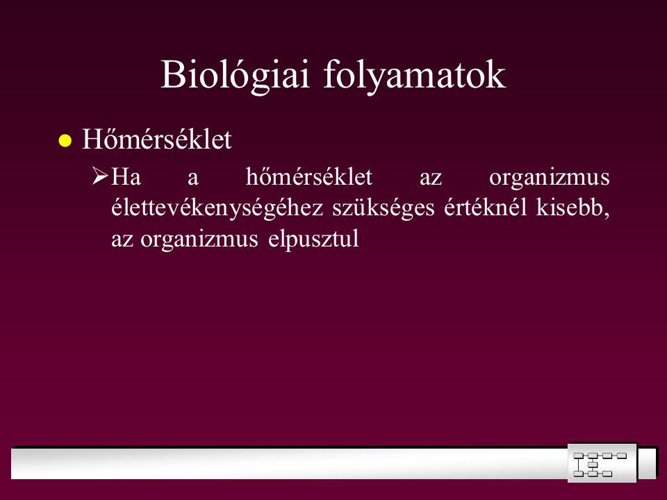 Biológiai folyamatok Hőmérséklet  Ha a hőmérséklet az organizmus élettevékenységéhez szükséges értéknél kisebb, az organizmus elpusztul