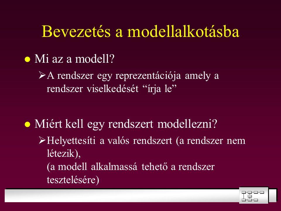 """Bevezetés a modellalkotásba Mi az a modell?  A rendszer egy reprezentációja amely a rendszer viselkedését """"írja le"""" Miért kell egy rendszert modellez"""