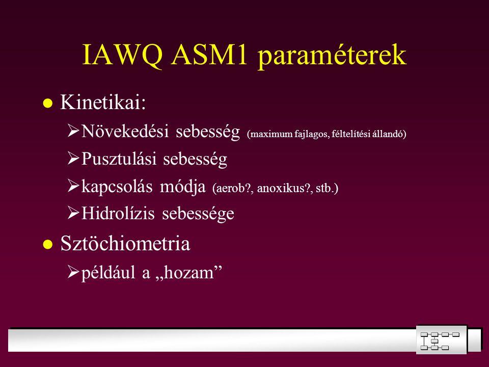 IAWQ ASM1 paraméterek Kinetikai:  Növekedési sebesség (maximum fajlagos, féltelítési állandó)  Pusztulási sebesség  kapcsolás módja (aerob?, anoxik