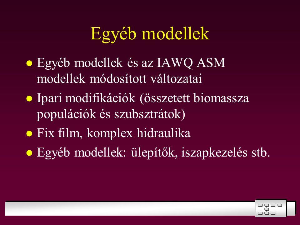 Egyéb modellek Egyéb modellek és az IAWQ ASM modellek módosított változatai Ipari modifikációk (összetett biomassza populációk és szubsztrátok) Fix fi