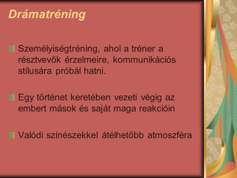 Drámatréning Személyiségtréning, ahol a tréner a résztvevők érzelmeire, kommunikációs stílusára próbál hatni.