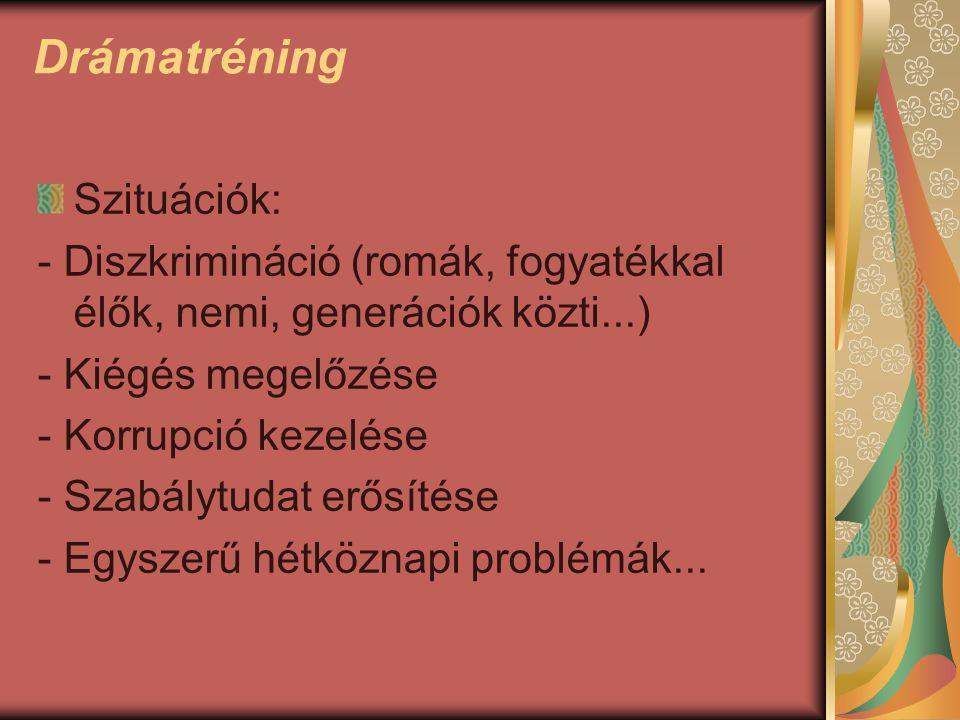 Drámatréning Szituációk: - Diszkrimináció (romák, fogyatékkal élők, nemi, generációk közti...) - Kiégés megelőzése - Korrupció kezelése - Szabálytudat erősítése - Egyszerű hétköznapi problémák...