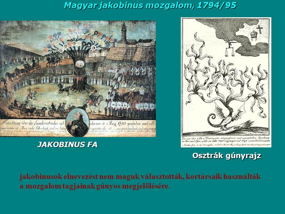 Osztrák gúnyrajz jakobinusok elnevezést nem maguk választották, kortársaik használták a mozgalom tagjainak gúnyos megjelölésére. JAKOBINUS FA Magyar j