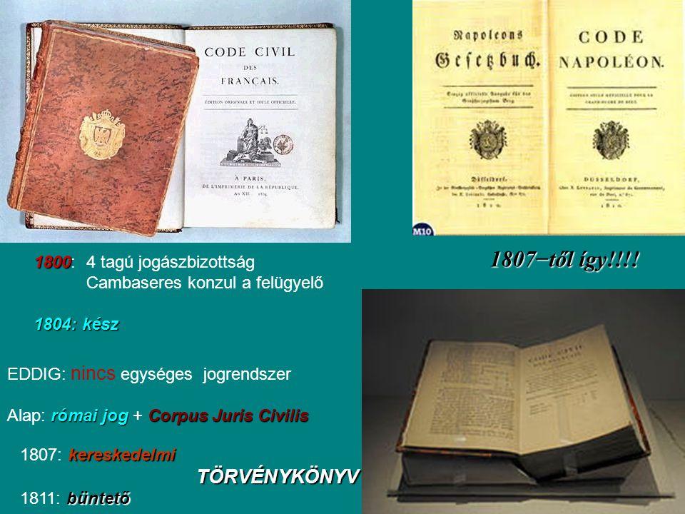 1800 1800: 4 tagú jogászbizottság Cambaseres konzul a felügyelő 1804: kész 1807−től így!!!! EDDIG: nincs egységes jogrendszer római jogCorpus Juris Ci