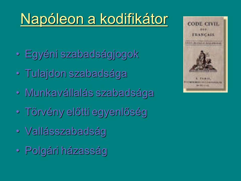 Napóleon a kodifikátor Egyéni szabadságjogokEgyéni szabadságjogok Tulajdon szabadságaTulajdon szabadsága Munkavállalás szabadságaMunkavállalás szabads