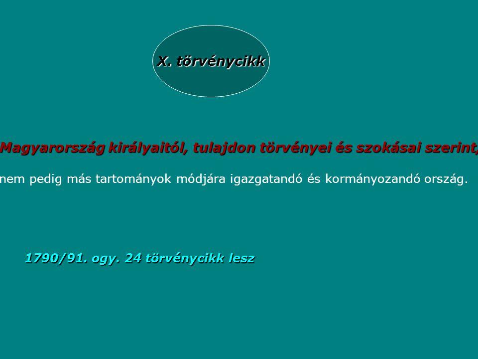 X. törvénycikk Magyarország királyaitól, tulajdon törvényei és szokásai szerint, nem pedig más tartományok módjára igazgatandó és kormányozandó ország