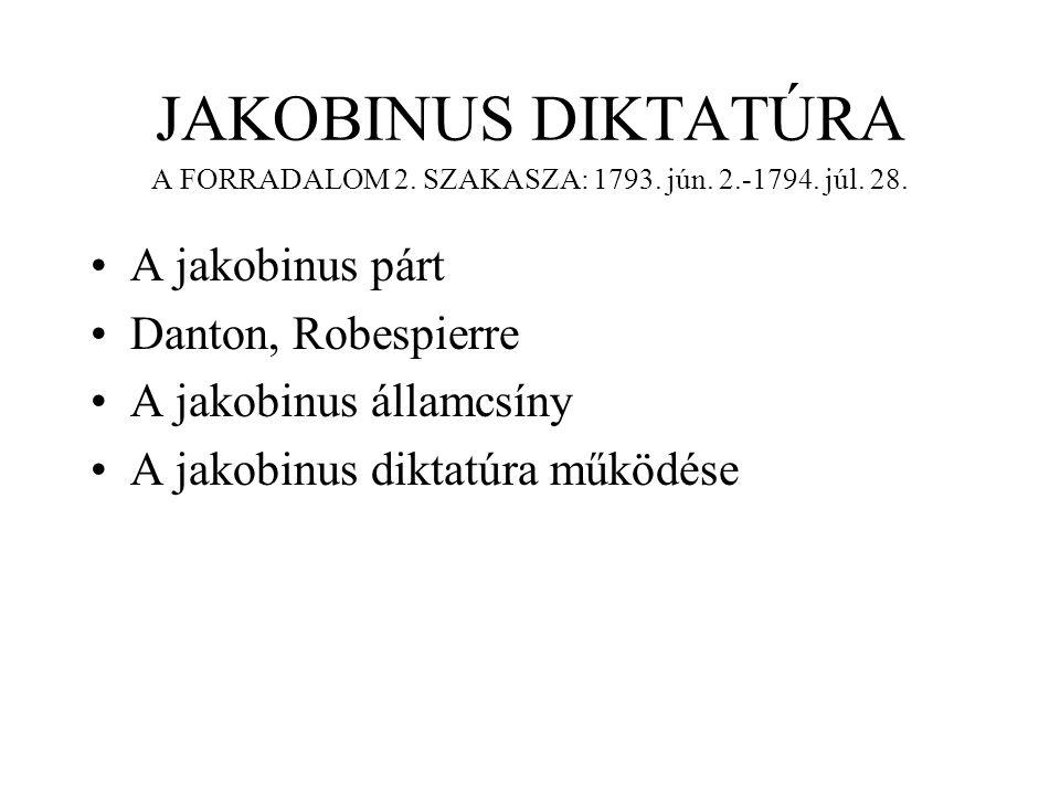 JAKOBINUS DIKTATÚRA A FORRADALOM 2. SZAKASZA: 1793. jún. 2.-1794. júl. 28. A jakobinus párt Danton, Robespierre A jakobinus államcsíny A jakobinus dik