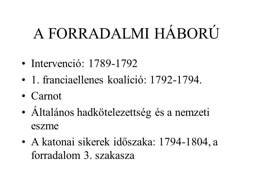 A FORRADALMI HÁBORÚ Intervenció: 1789-1792 1. franciaellenes koalíció: 1792-1794. Carnot Általános hadkötelezettség és a nemzeti eszme A katonai siker