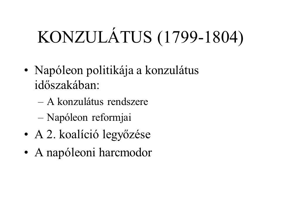 KONZULÁTUS (1799-1804) Napóleon politikája a konzulátus időszakában: –A konzulátus rendszere –Napóleon reformjai A 2. koalíció legyőzése A napóleoni h