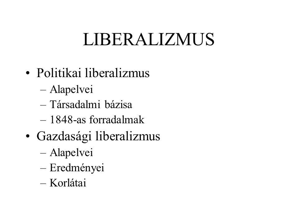 LIBERALIZMUS Politikai liberalizmus –Alapelvei –Társadalmi bázisa –1848-as forradalmak Gazdasági liberalizmus –Alapelvei –Eredményei –Korlátai