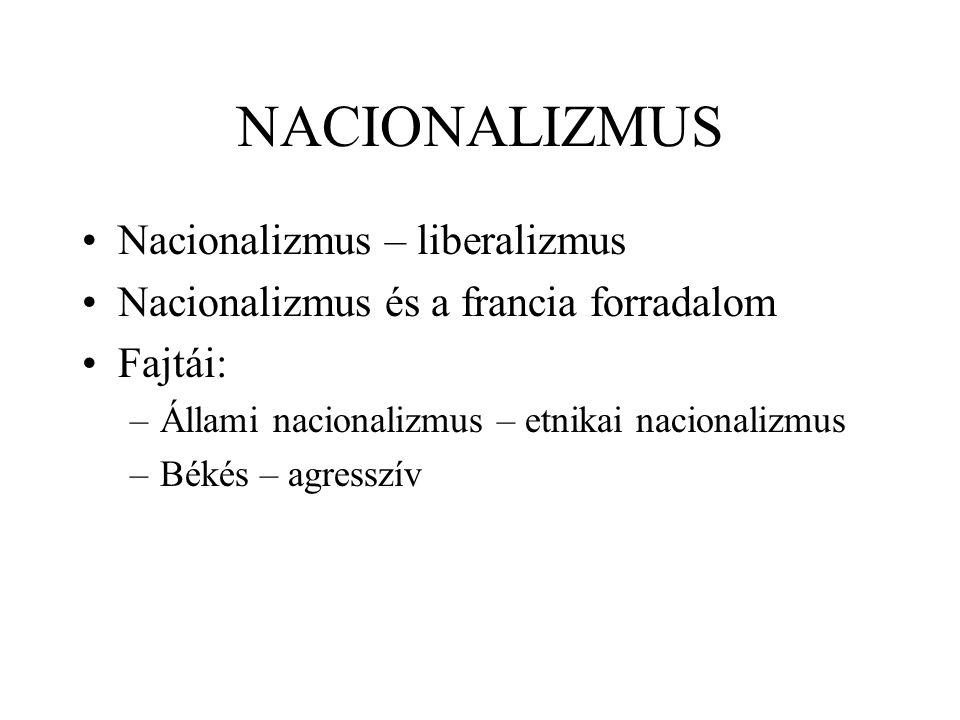 NACIONALIZMUS Nacionalizmus – liberalizmus Nacionalizmus és a francia forradalom Fajtái: –Állami nacionalizmus – etnikai nacionalizmus –Békés – agress