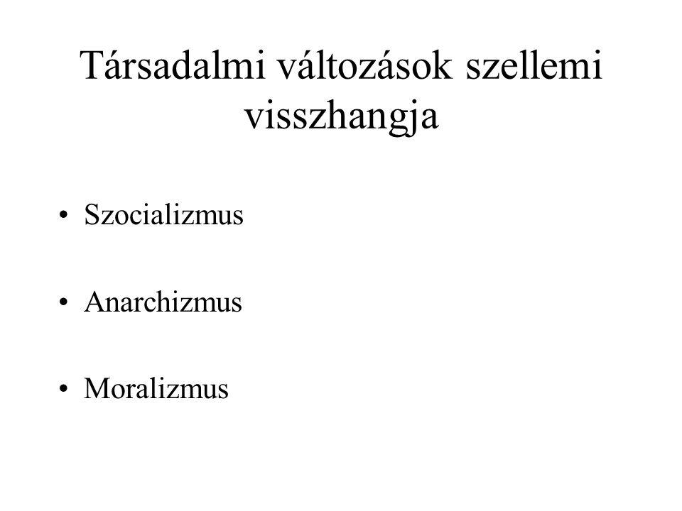Társadalmi változások szellemi visszhangja Szocializmus Anarchizmus Moralizmus