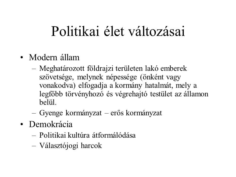 Politikai élet változásai Modern állam –Meghatározott földrajzi területen lakó emberek szövetsége, melynek népessége (önként vagy vonakodva) elfogadja