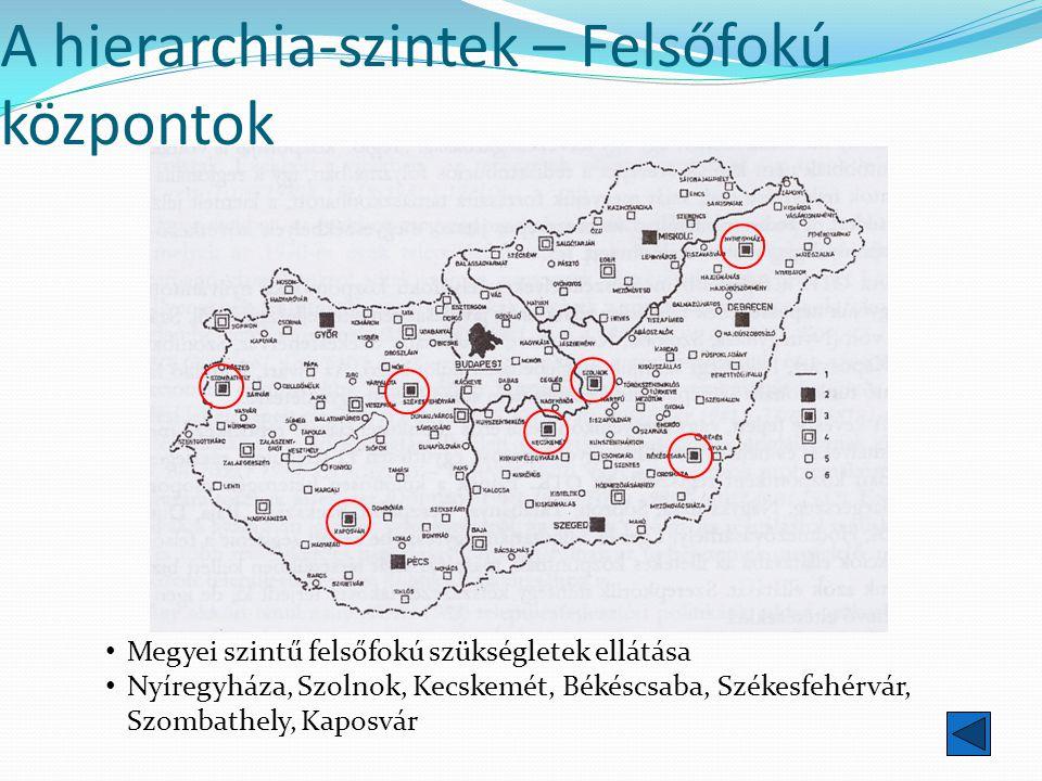 A hierarchia-szintek – Felsőfokú központok Megyei szintű felsőfokú szükségletek ellátása Nyíregyháza, Szolnok, Kecskemét, Békéscsaba, Székesfehérvár,
