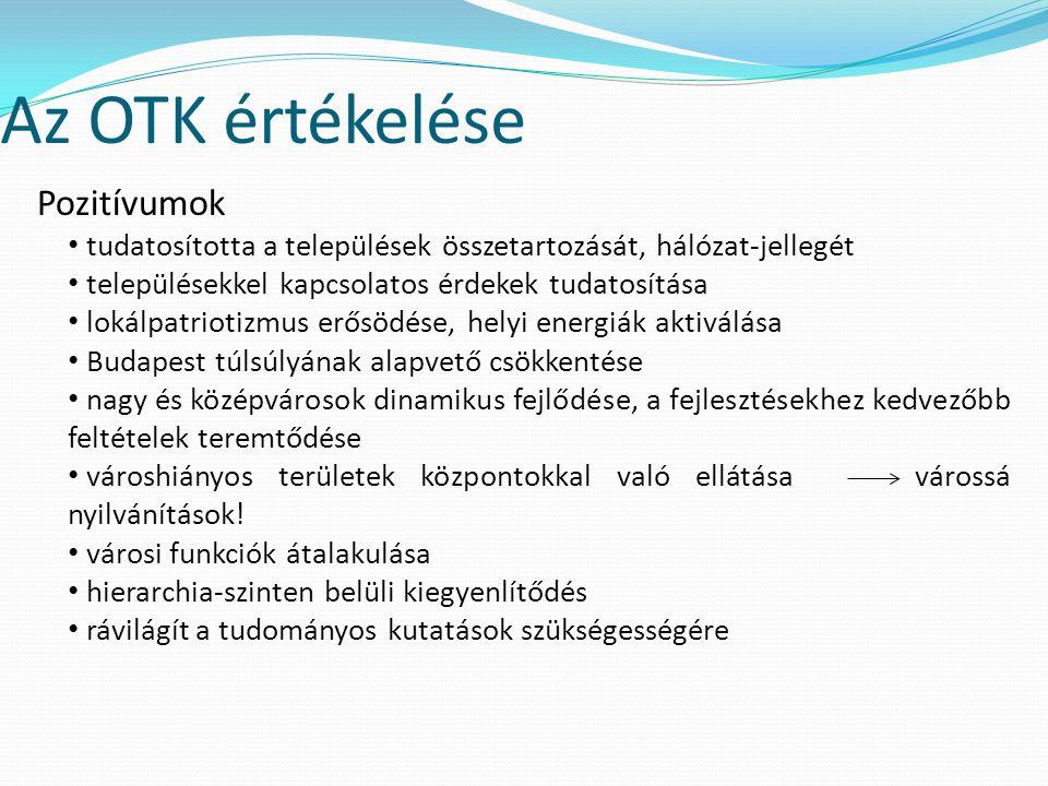 Az OTK értékelése Pozitívumok tudatosította a települések összetartozását, hálózat-jellegét településekkel kapcsolatos érdekek tudatosítása lokálpatri