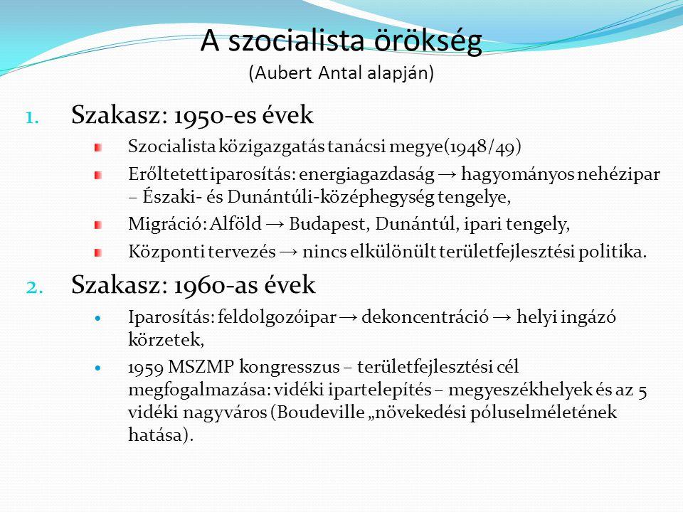A szocialista örökség (Aubert Antal alapján) 1. Szakasz: 1950-es évek Szocialista közigazgatás tanácsi megye(1948/49) Erőltetett iparosítás: energiaga