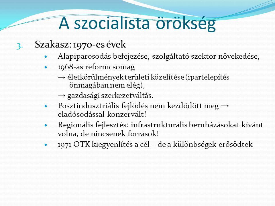 A szocialista örökség 3. Szakasz: 1970-es évek Alapiparosodás befejezése, szolgáltató szektor növekedése, 1968-as reformcsomag → életkörülmények terül
