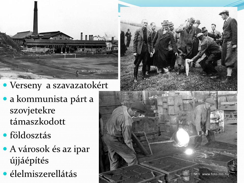 Magyarország a háború után Verseny a szavazatokért a kommunista párt a szovjetekre támaszkodott földosztás A városok és az ipar újjáépítés élelmiszere