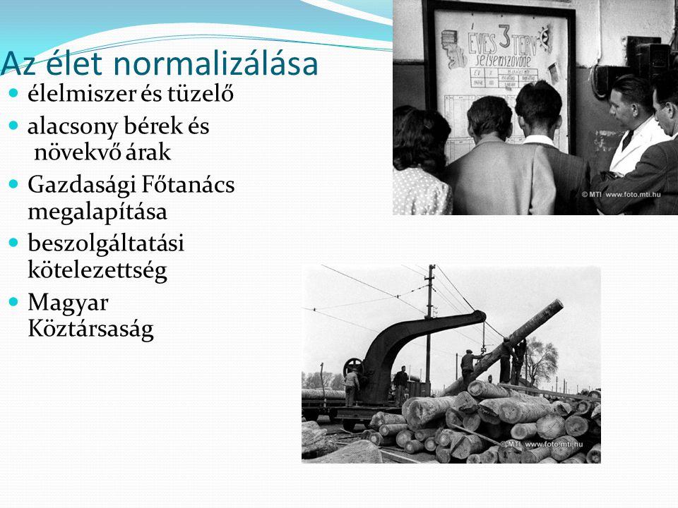 Az élet normalizálása élelmiszer és tüzelő alacsony bérek és növekvő árak Gazdasági Főtanács megalapítása beszolgáltatási kötelezettség Magyar Köztárs