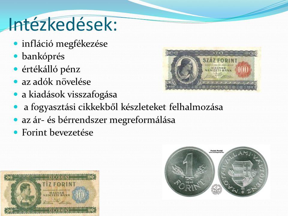 Intézkedések: infláció megfékezése bankóprés értékálló pénz az adók növelése a kiadások visszafogása a fogyasztási cikkekből készleteket felhalmozása