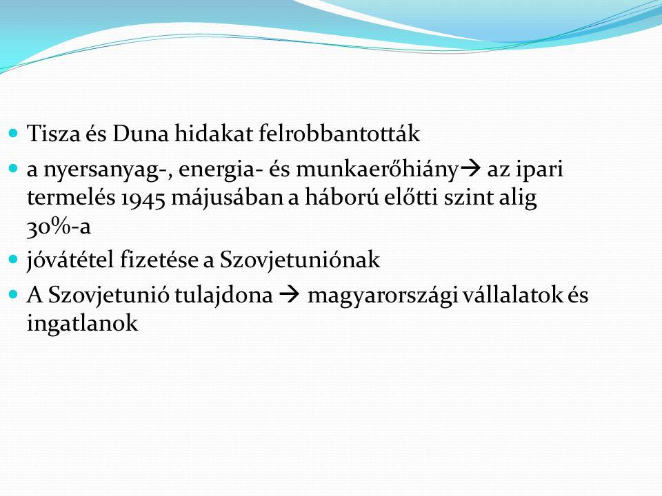 Tisza és Duna hidakat felrobbantották a nyersanyag-, energia- és munkaerőhiány  az ipari termelés 1945 májusában a háború előtti szint alig 30%-a jóv