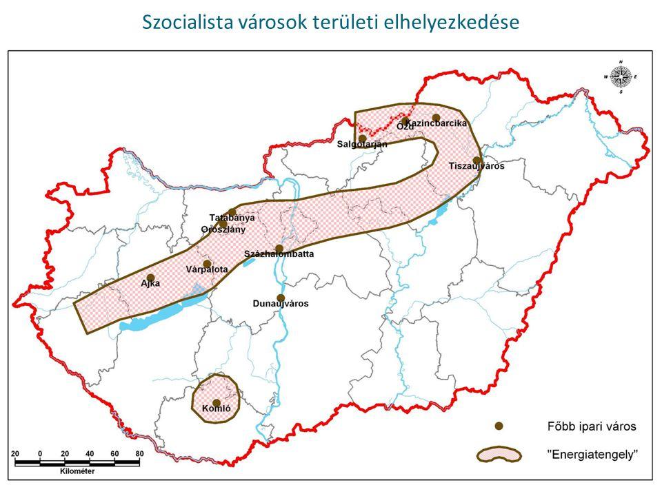 Szocialista városok területi elhelyezkedése