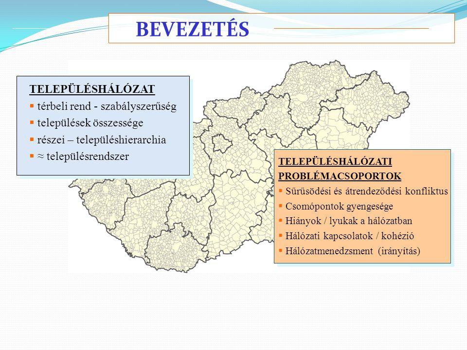 BEVEZETÉS TELEPÜLÉSHÁLÓZAT  térbeli rend - szabályszerűség  települések összessége  részei – településhierarchia  ≈ településrendszer TELEPÜLÉSHÁL