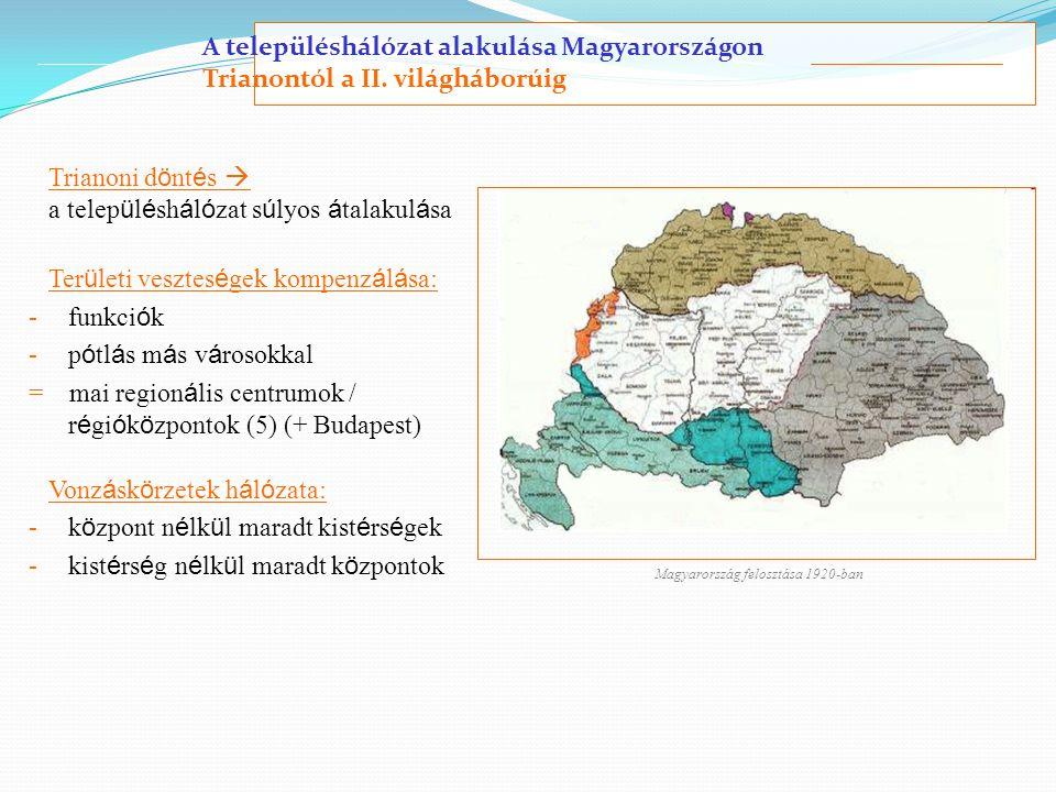 A településhálózat alakulása Magyarországon Trianontól a II. világháborúig Trianoni d ö nt é s  a telep ü l é sh á l ó zat s ú lyos á talakul á sa Te