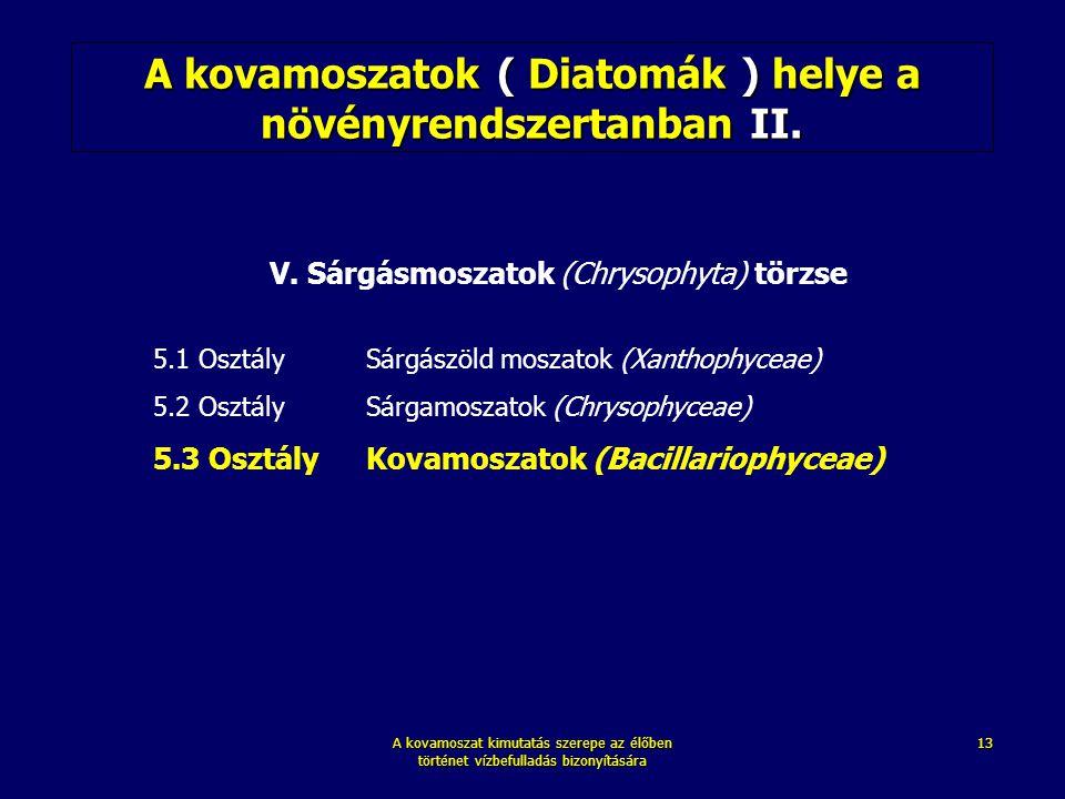 A kovamoszat kimutatás szerepe az élőben történet vízbefulladás bizonyítására 13 A kovamoszatok ( Diatomák ) helye a növényrendszertanban II. V. Sárgá