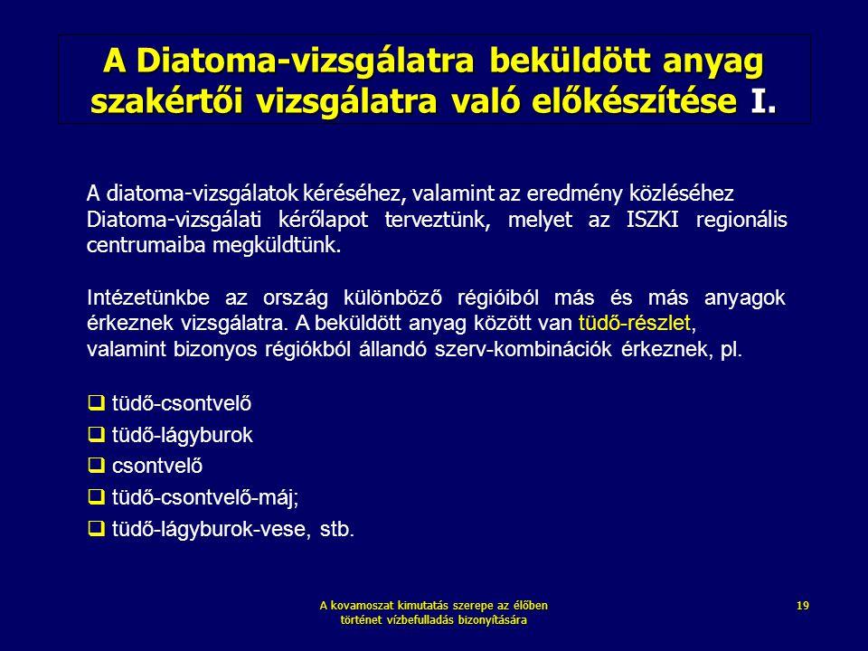 A kovamoszat kimutatás szerepe az élőben történet vízbefulladás bizonyítására 19 A Diatoma-vizsgálatra beküldött anyag szakértői vizsgálatra való elők
