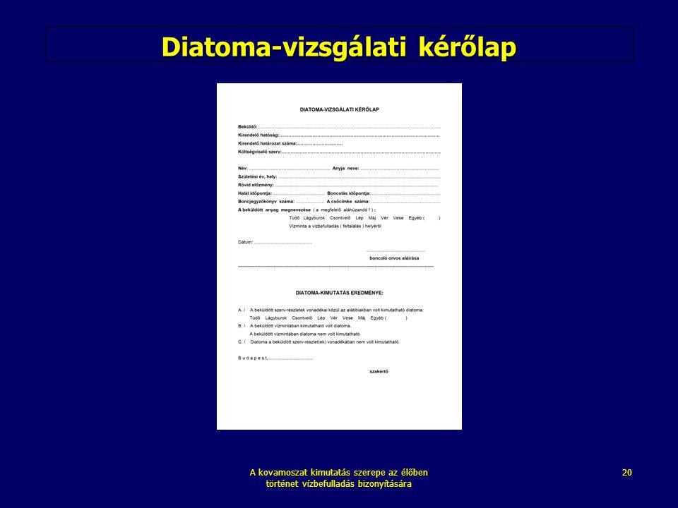 A kovamoszat kimutatás szerepe az élőben történet vízbefulladás bizonyítására 20 Diatoma-vizsgálati kérőlap