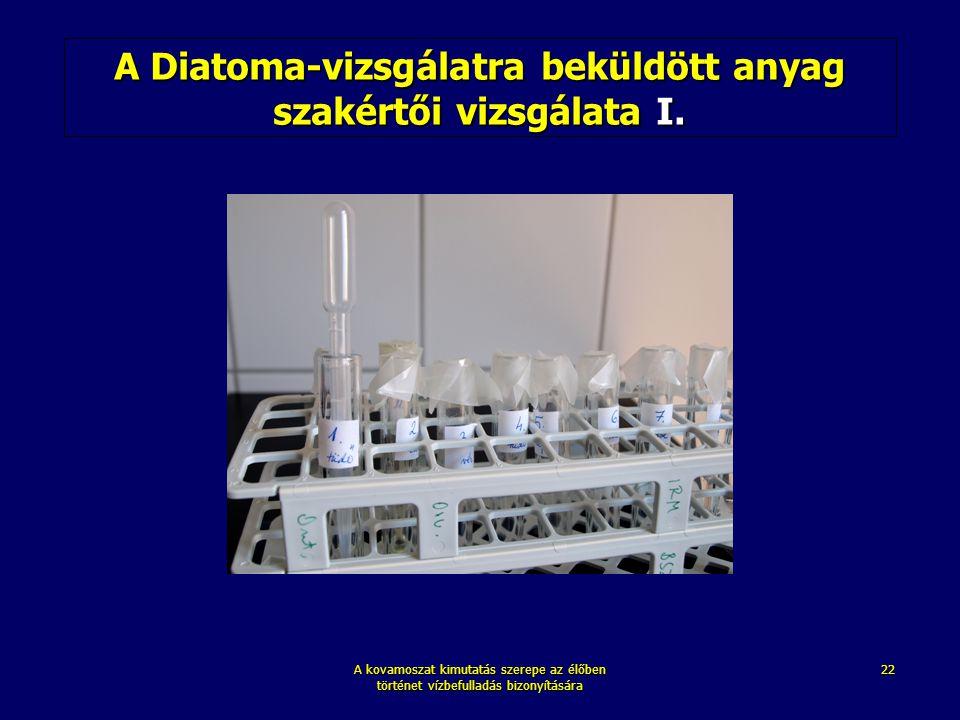 A kovamoszat kimutatás szerepe az élőben történet vízbefulladás bizonyítására 22 A Diatoma-vizsgálatra beküldött anyag szakértői vizsgálata I.