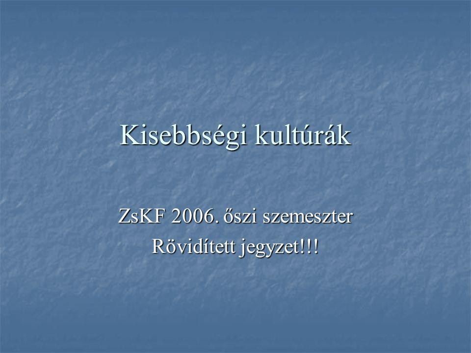 Kisebbségi kultúrák ZsKF 2006. őszi szemeszter Rövidített jegyzet!!!