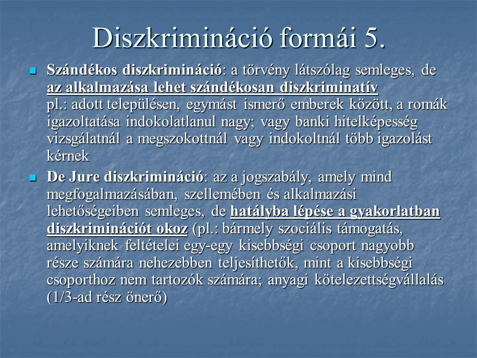 Diszkrimináció formái 5. Szándékos diszkrimináció: a törvény látszólag semleges, de az alkalmazása lehet szándékosan diszkriminatív pl.: adott települ