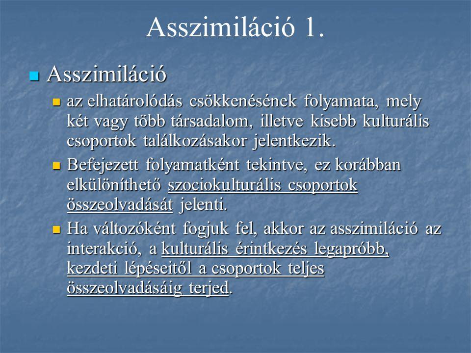 Asszimiláció 1. Asszimiláció Asszimiláció az elhatárolódás csökkenésének folyamata, mely két vagy több társadalom, illetve kisebb kulturális csoportok