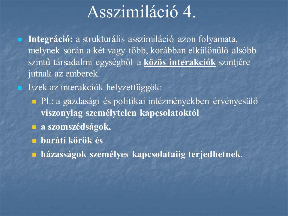 Asszimiláció 4. Integráció: a strukturális asszimiláció azon folyamata, melynek során a két vagy több, korábban elkülönülő alsóbb szintű társadalmi eg