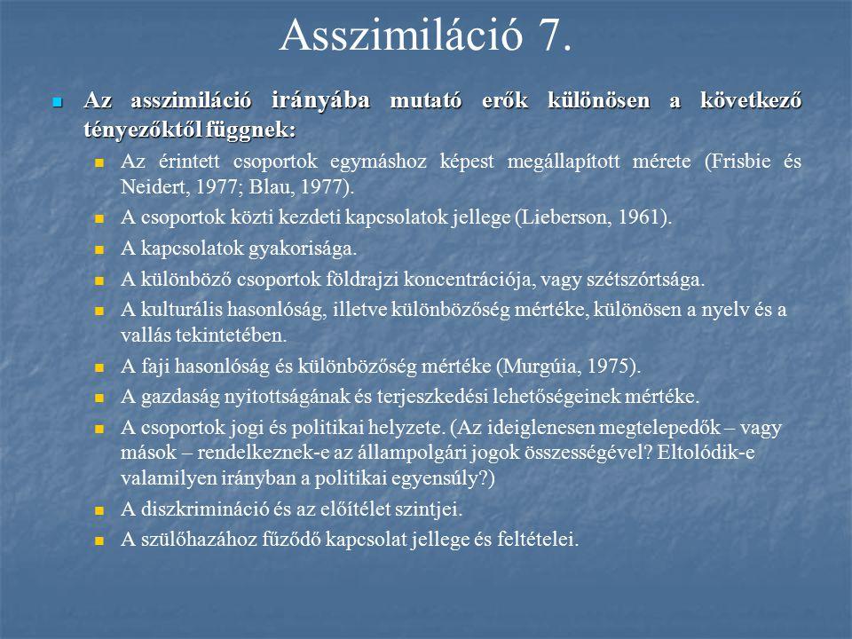 Asszimiláció 7. Az asszimiláció irányába mutató erők különösen a következő tényezőktől függnek: Az asszimiláció irányába mutató erők különösen a követ