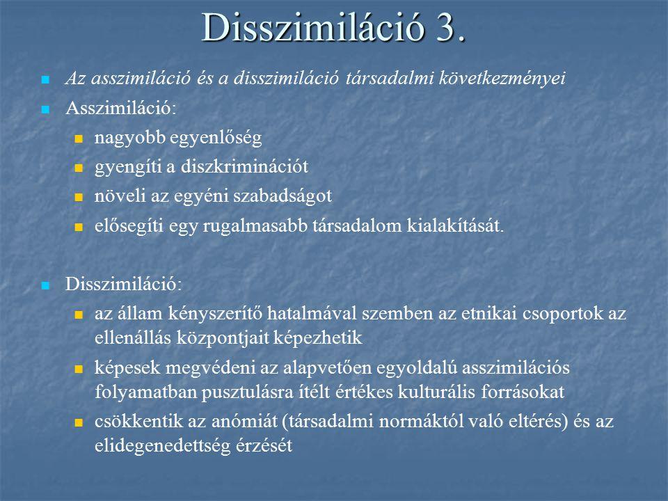 Disszimiláció 3. Az asszimiláció és a disszimiláció társadalmi következményei Asszimiláció: nagyobb egyenlőség gyengíti a diszkriminációt növeli az eg