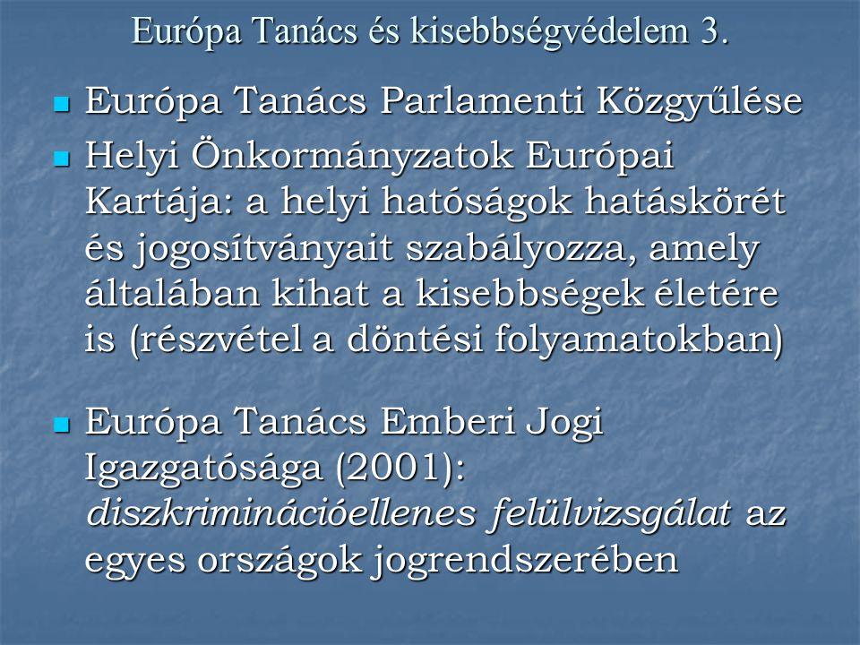 Európa Tanács és kisebbségvédelem 3. Európa Tanács Parlamenti Közgyűlése Európa Tanács Parlamenti Közgyűlése Helyi Önkormányzatok Európai Kartája: a h