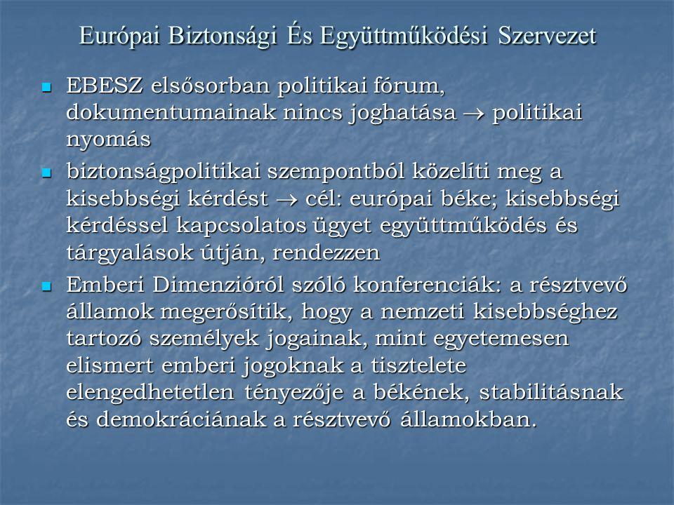 Európai Biztonsági És Együttműködési Szervezet EBESZ elsősorban politikai fórum, dokumentumainak nincs joghatása  politikai nyomás EBESZ elsősorban p