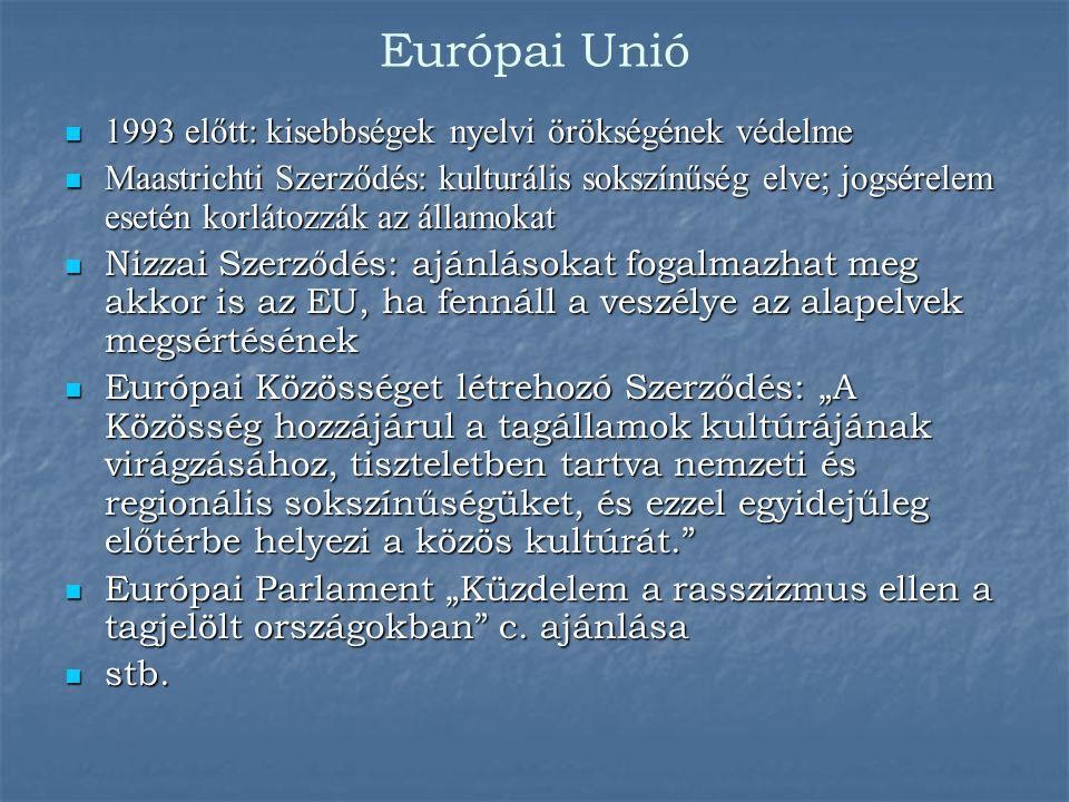 Európai Unió 1993 előtt: kisebbségek nyelvi örökségének védelme 1993 előtt: kisebbségek nyelvi örökségének védelme Maastrichti Szerződés: kulturális s