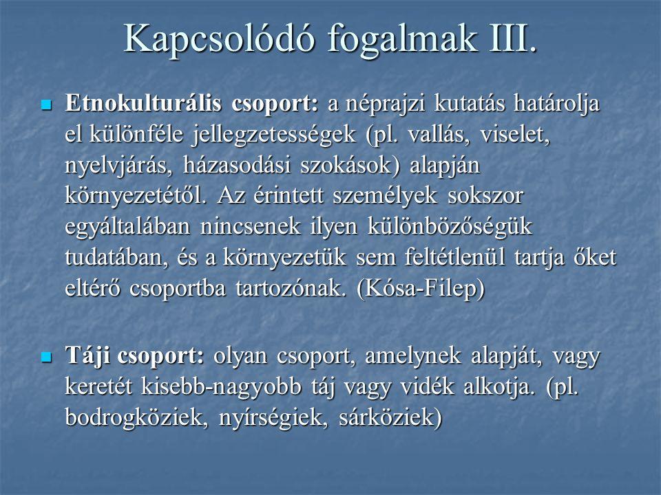 Kapcsolódó fogalmak III. Etnokulturális csoport: a néprajzi kutatás határolja el különféle jellegzetességek (pl. vallás, viselet, nyelvjárás, házasodá