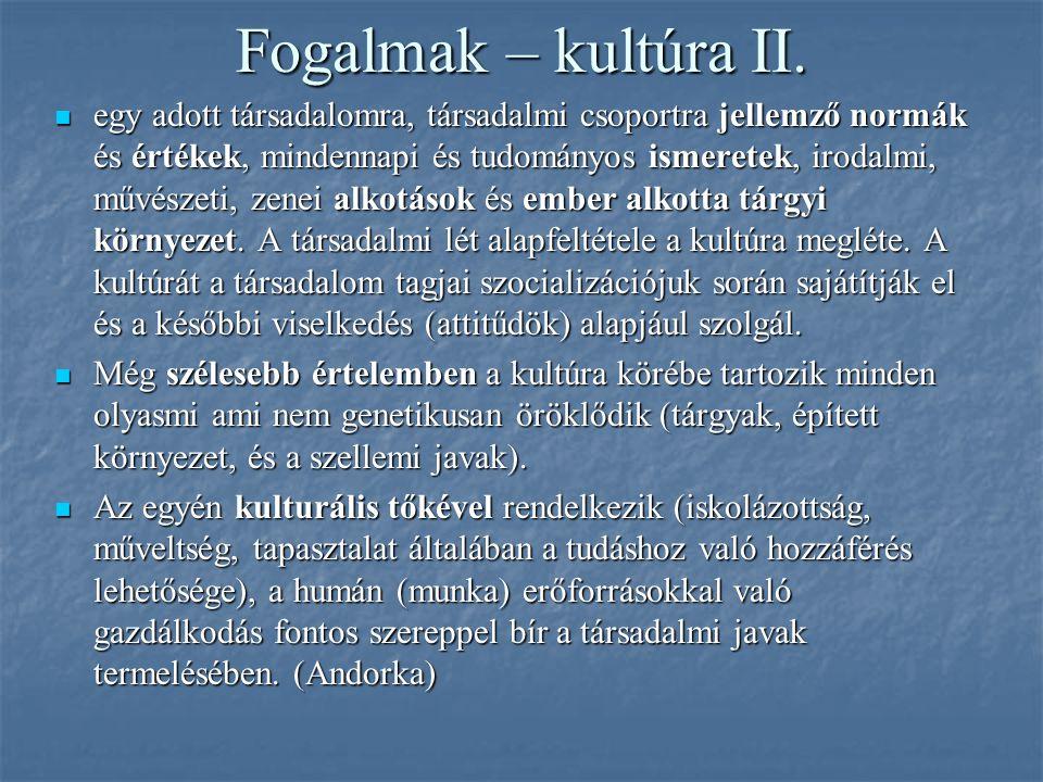 Fogalmak – kultúra II. egy adott társadalomra, társadalmi csoportra jellemző normák és értékek, mindennapi és tudományos ismeretek, irodalmi, művészet
