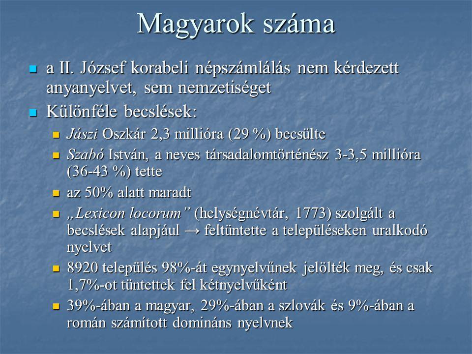 Magyarok száma a II. József korabeli népszámlálás nem kérdezett anyanyelvet, sem nemzetiséget a II. József korabeli népszámlálás nem kérdezett anyanye